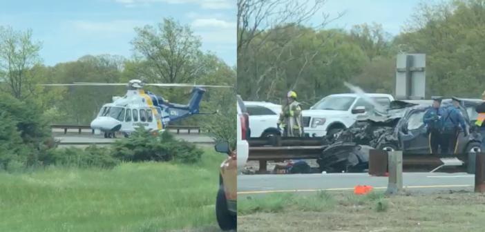 Accident on Garden State Parkway leaves two cars mangled, helicopter arrives