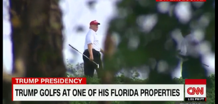 CNN hides behind bushes to get footage of President Trump playing golf