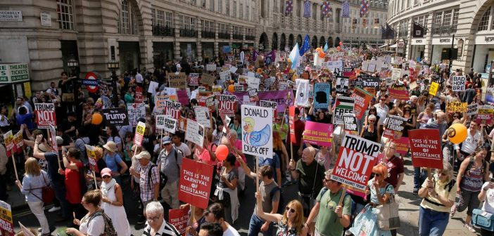 Thousands flood London streets to protest U.S President Donald Trump